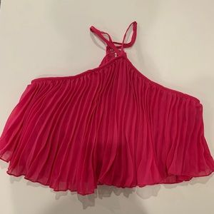 Luxxel hot pink pleated halter crop top